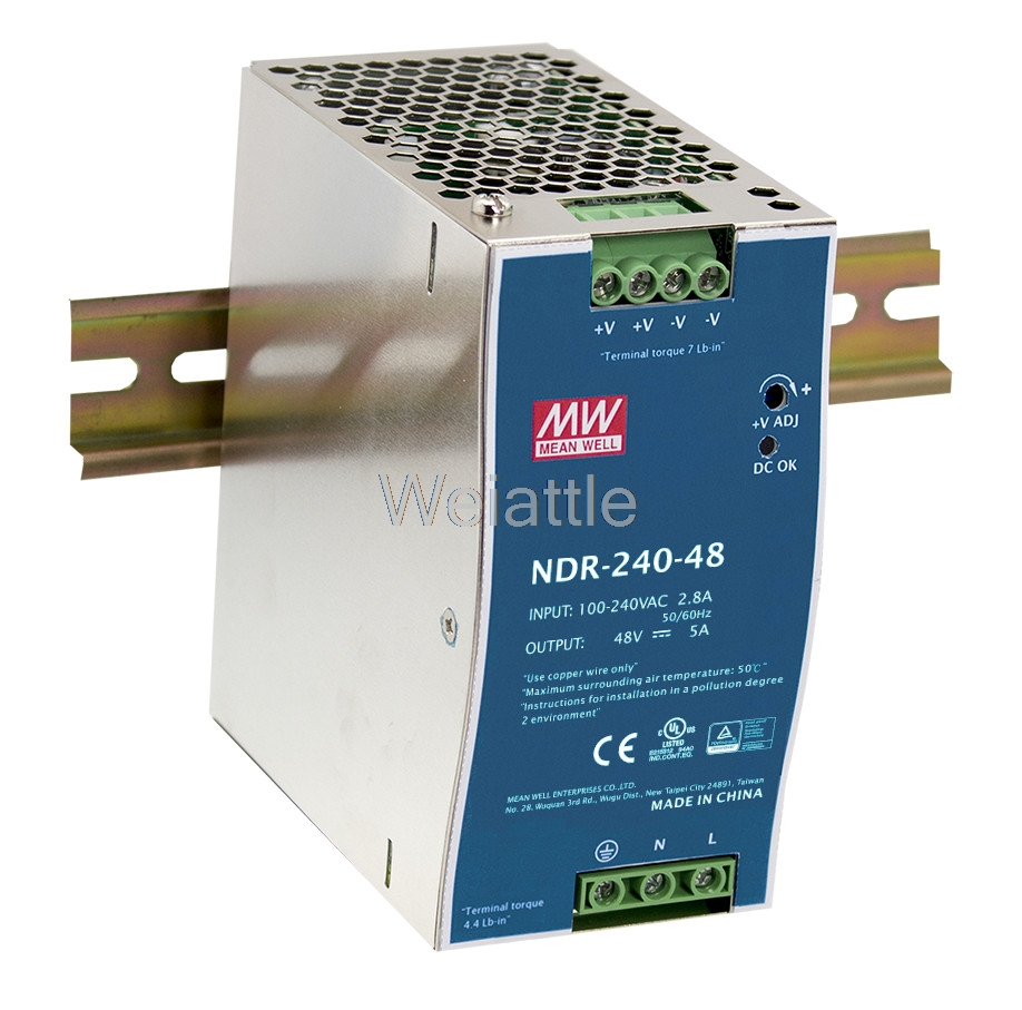все цены на MEAN WELL original NDR-240-48 48V 5A meanwell NDR-240 48V 240W Single Output Industrial DIN Rail Power Supply онлайн