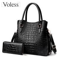 Fashion Alligator 2 PC Purses Handbag PU Leather Women Messenger Bags Ladies Tote Bag Crossbody Bag For Women Bags Sac A Main