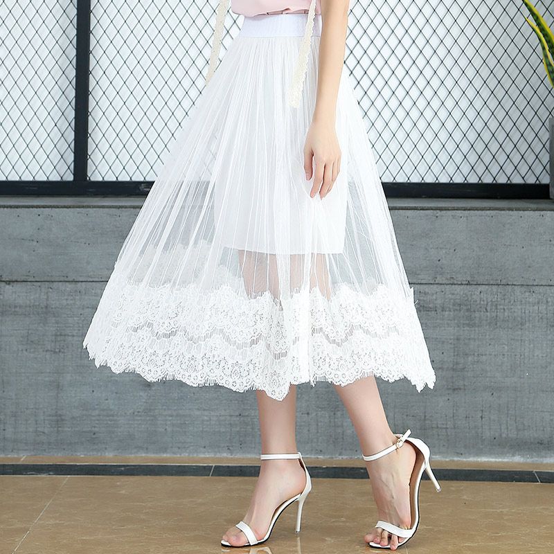 2018 Spring And Summer New Fairy Lace Skirt Pleated Tulle Skirt Long White Skirts Womens Chiffon Skirt Cotton Lining