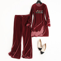 New 2017 Women Velvet Suit Euro American Fashionable Chic Deuce Of Pants And Irregular Pullover With