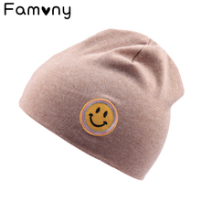 Get more info on the 2018 New Winter Solid Knitted Cotton Caps For Girls Kid Emoji Print Hat Skullies Boys Spring Autumn Outdoor Warm Cap Beanies