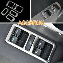 AOSRRUN Stainless Steel window lifter switch Cover Car Accessories Car-styling For VW Volkswagen Polo 2011-2017 6R LHD