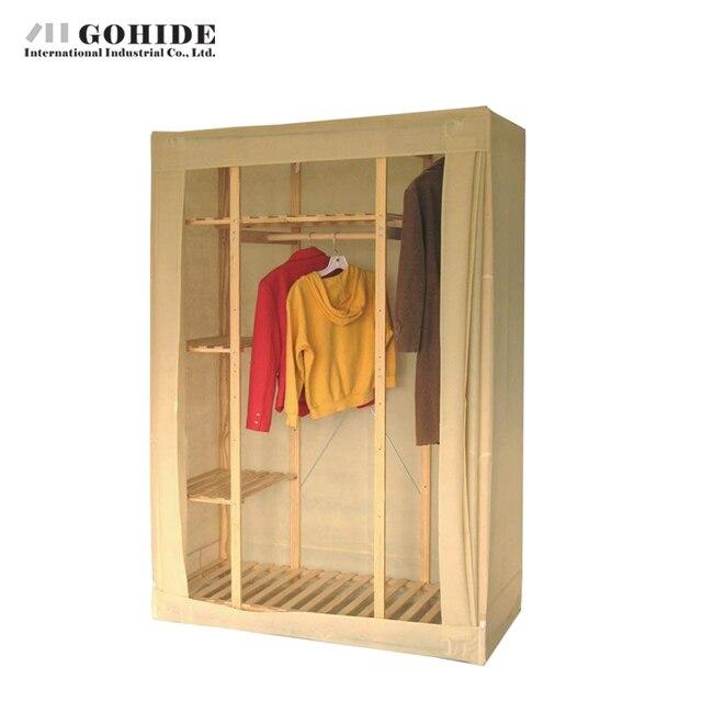 Gohide 132cm Pinewood Wardrobe Pine Wardrobe Home Furnishing Decoration Simple Lockers To Storage Clothes