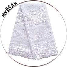 White High Quality Latest French Lace Fabric Royal Blue Aso Ebi Africa 2018 Wholesales Nigerian Fabrics
