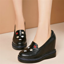 Outdoor Creepers Women Cow Leather Wedges High Heel Party Pumps Punk Goth Tennis Shoes Round Toe Platform Oxfords Trainers