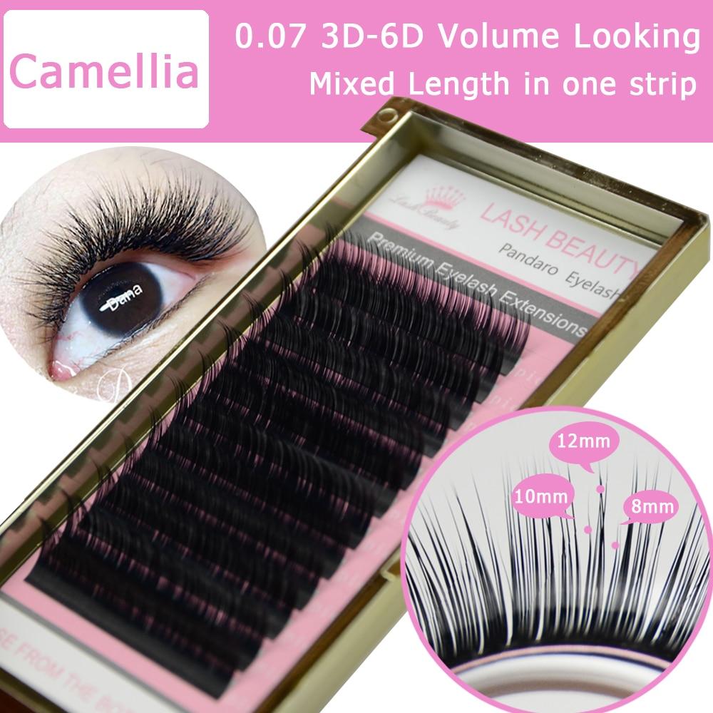 4 Trays Camellia Eyelash Extension 3D-6D 0.07/0.10 Volume Fan Eyelash Extensions Mixed Length in One Lash Strip Golden Fancy Box lash box