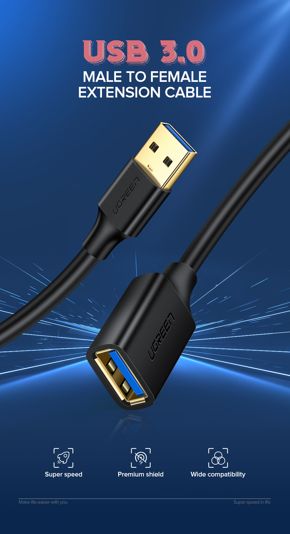 HTB1c2RATNjaK1RjSZFAq6zdLFXaA Ugreen USB Extension Cable USB 3.0 Cable for Smart TV PS4 Xbox One SSD USB3.0 2.0 to Extender Data Cord Mini USB Extension Cable