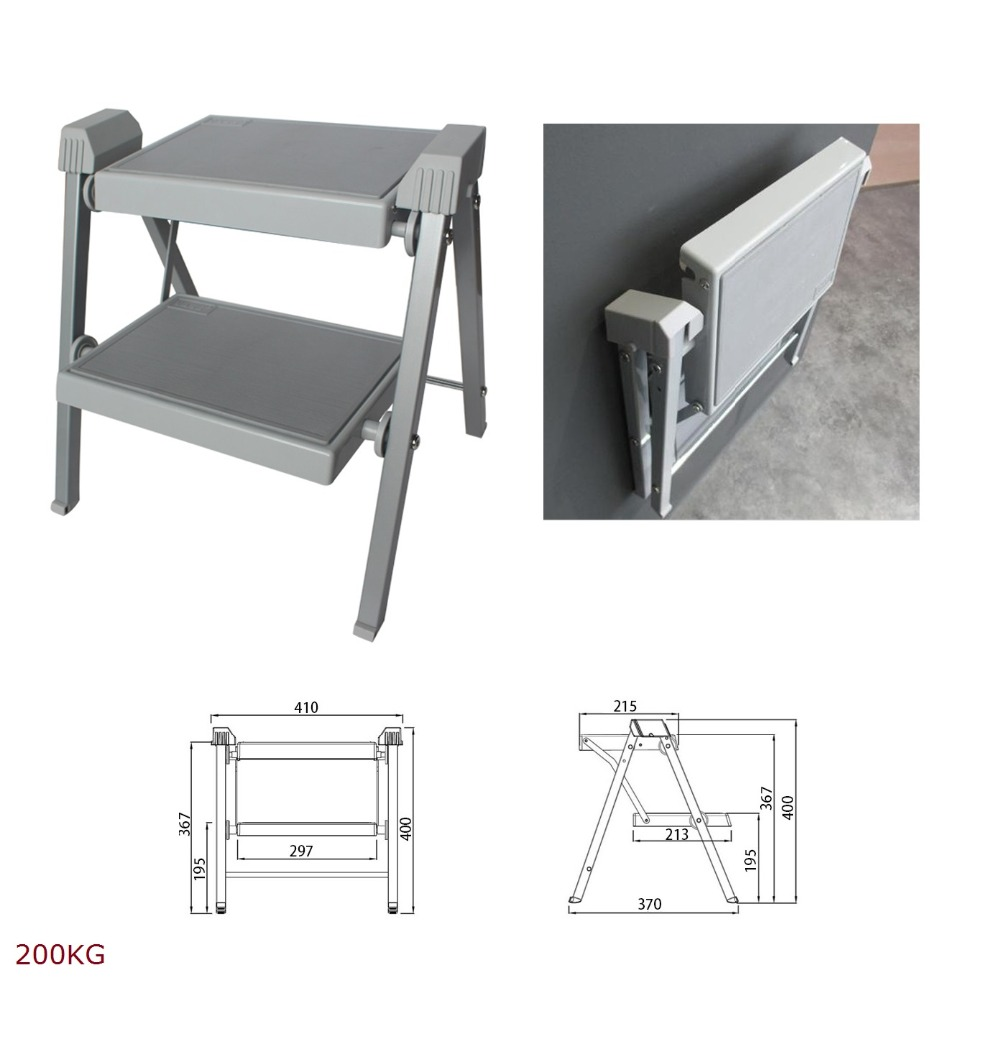 200KG Kitchen Two Step Ladder Folding Stool With Pedal Easy Storage