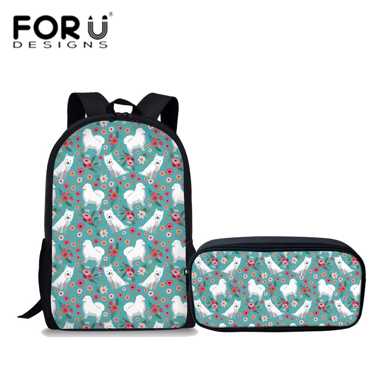 FORUDESIGNS Samoyed Print Girls Backpack School Bag With Pencil Case Set 2 PCS Kawaii Schoolbag Kids Satchels Sac a dos Mochila
