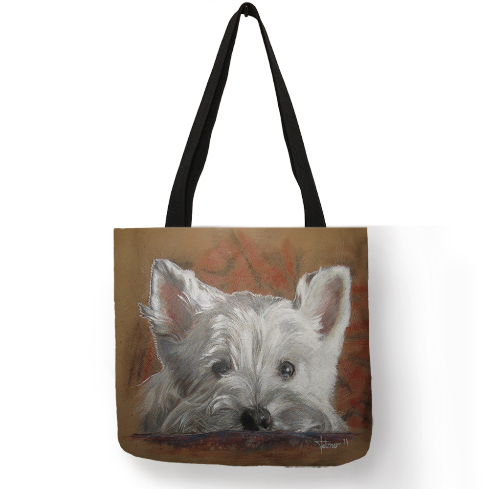Unique Design Westie Dog Painting Handbag For Women Shopping  Travel Bags Large Capacity  Eco Linen Tote Bag Dropshipping