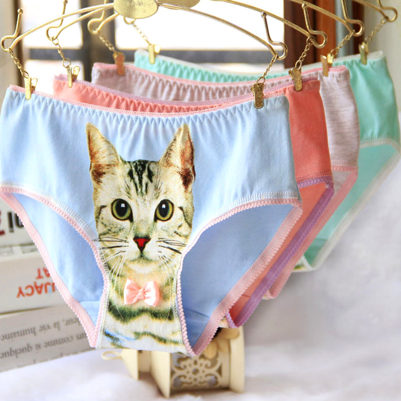 Cat   Panties   3D Printing   Panty   Cotton   Panties   Women's Underwear Sexy Lace   Panties   Striped Briefs Ladies Knickers Size L XL