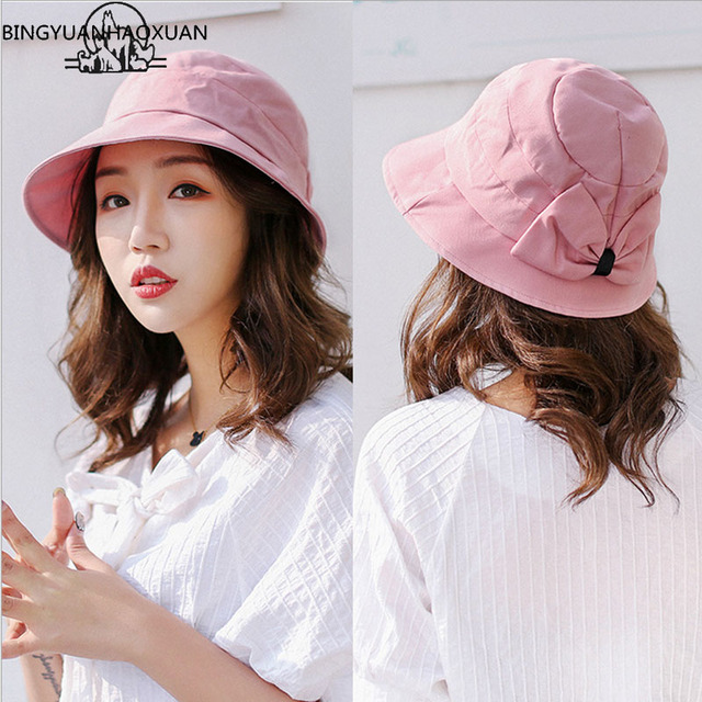 194fa070587 BINGYUANHAOXUAN Women Men Cotton Wide Brimable Fold Bucket Hat Summer Solid  UV Solar Outdoor Fishing Hat