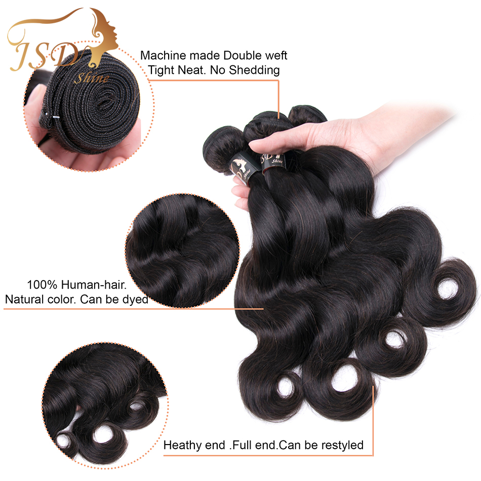 JSDshine Hair Burmese Body Wave Bundles With Closure Human Hair 4*4 Lace Closure 3 Bundles Non-Remy Hair Free Shipping Extension
