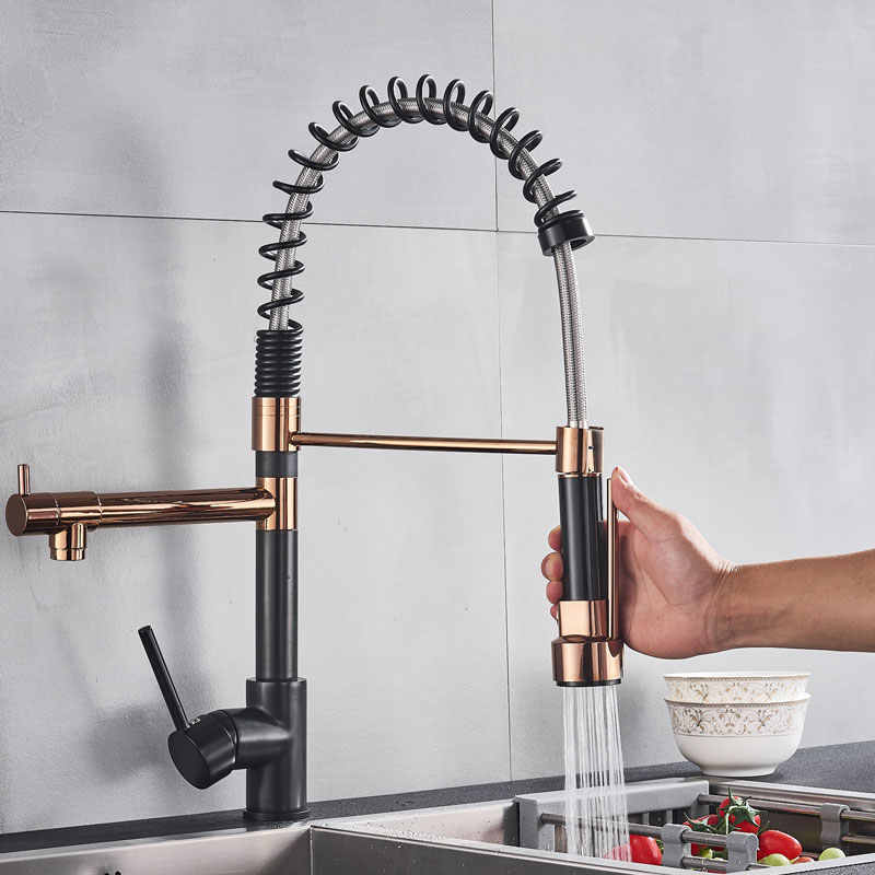 New rose gold ktichen spring Sink faucet hot cold mixer tap modern popular deck mount pull down bath faucets 360 degree rotataio