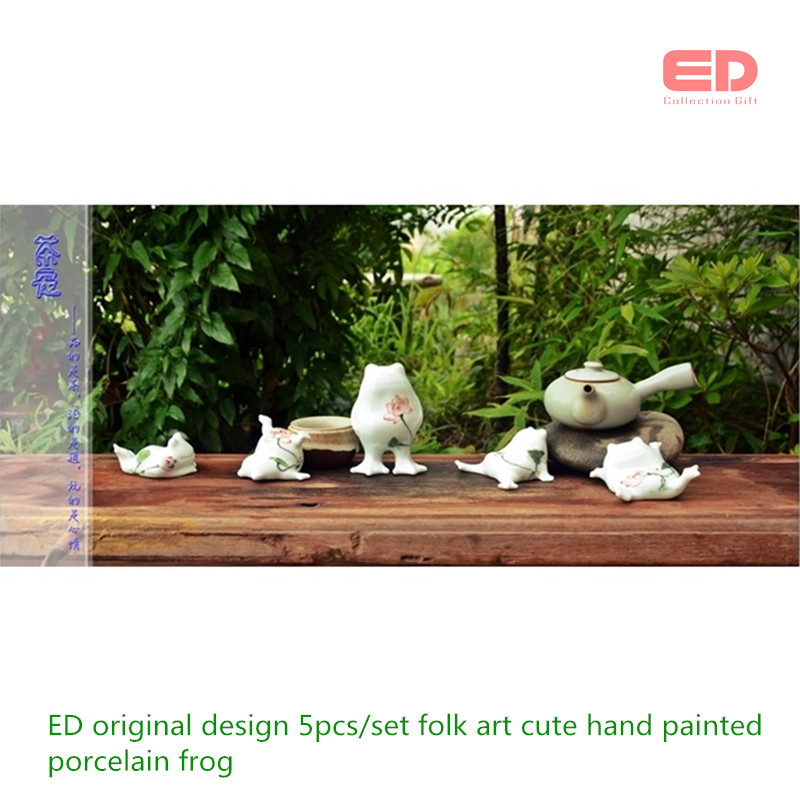 SET/5 ED original design folk art cute hand painted ceramic/porcelain frog home living room accessories garden figures gifts ...