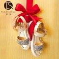 Т. С. дети обувь Летние Девушки Сандалии Обувь на плоской подошве Малышей Дети женщины Детская Обувь ИСКУССТВЕННАЯ Кожа Блестки Обувь щепка Size26-37