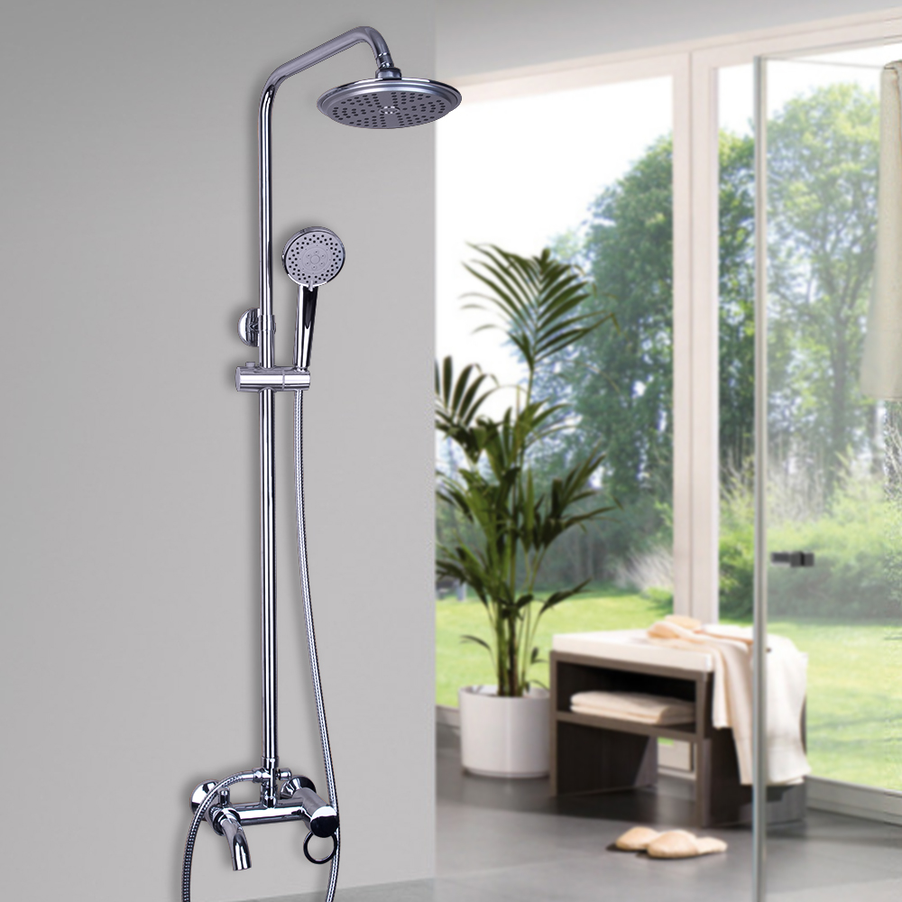 Bathroom Polished Chrome Rainfall Shower Set Faucet Handheld Shower Wall Mounted Tub Mixer Tap Single Handle Water Taps chrome polished rainfall solid brass shower bath thermostatic shower faucet set mixer tap with double hand sprayer wall mounted