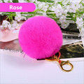 Free shipping 12Colors 8CM Genuine Rabbit Fur Ball pompons Fur Keychain Gift Keyrings pom pom Key chain For Keys bag pendant