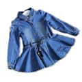 New Arrival Baby Girls Long Sleeve Denim Dresses Girls Fashion Floral Embroidery jean Dress Kids Dress-style Big Bow Blouses