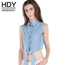 HDY Haoduoyi Fashion Blue Women Shirts Sleeveless Single Breasted Turn-down Collar Crop Tops Bowknot Pockets Slim Casual Shirts