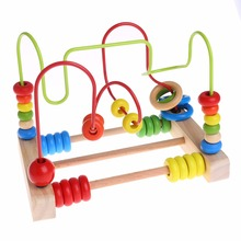Educational Baby Kids Wooden Toddler Toys Circle Bead Maze Intelligence Gift For Children