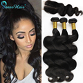 Brazilian Virgin Hair With Closure Body Wave Human Hair bundles extension 3 Bundles with closure peerless queen weave ali coupon