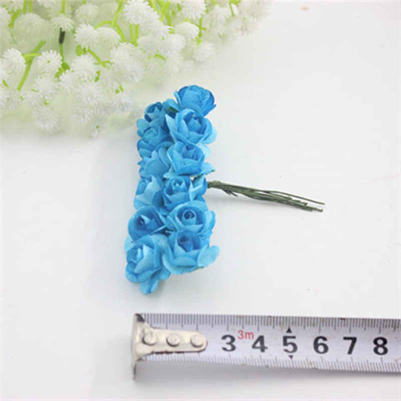 12 ชิ้น/ล็อต 1.5 ซม. ประดิษฐ์กระดาษขนาดเล็ก rose handmade party อุปกรณ์ตกแต่งรถแต่งงานประดิษฐ์ดอกไม้