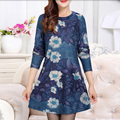 Autumn Winter Dress 2016 Fashion Long Sleeve Women Print Dress Vintage Bohemian Slim Dresses Women's Clothing Plus size
