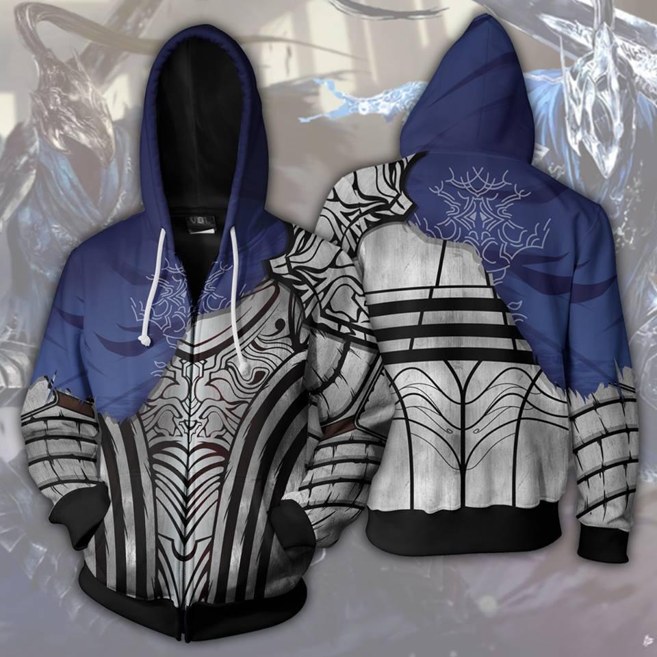 Game Demon Souls Dark Souls Cosplay Costumes Dark Souls Mens Hoodies 3D Print Hoodie Animation Zipper Hoodies Jackets