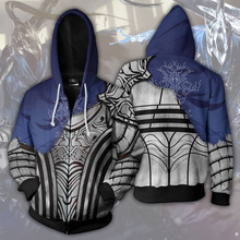 Oyun iblis ruhlar karanlık ruhlar Cosplay kostümleri karanlık ruhlar Mens Hoodies 3D baskılı kapüşonlu svetşört animasyon fermuar Hoodies ceketler
