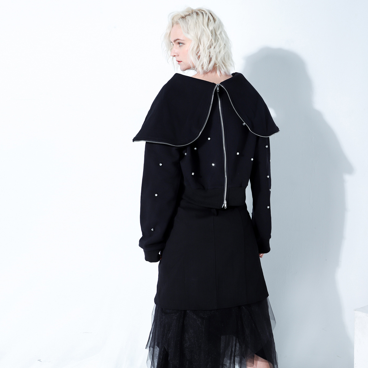 Cakucool Harajuku Streetwear sweat-shirt grand col rabattu sweats à capuche zippés décontracté perles deux façons porter survêtement haut Femme