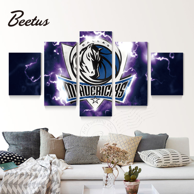 5 Panel Wall Art Basketball Game Dallas Mavericks Logo Poster Canvas ...