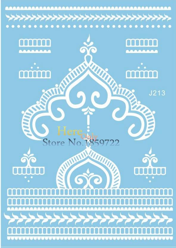 Indiano laço branco pasta de Henna para mulheres Lady HJ213 de casamento da coroa da rainha braçadeira de volta ombro Design grande tatuagem de Henna