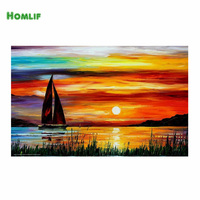 HOMLIF 5D Diamond boat and sun Embroidery Crystals square Full Diamond Mosaic Picture Pasted Cross Stitch Needlework