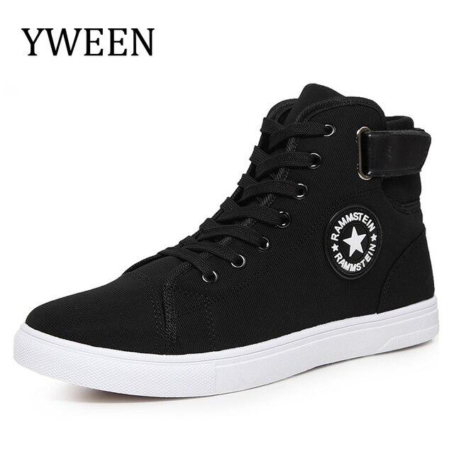 YWEEN Erkekler Kanvas Ayakkabılar Bahar Sonbahar Üst Moda Sneakers Dantel-up Yüksek Stil Katı Renk Düz Adam Rahat Ayakkabılar