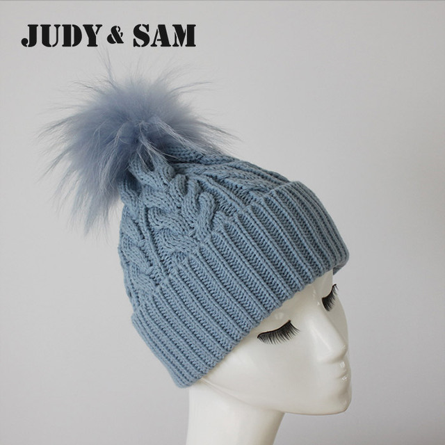 New Design Adults Warm Hat Winter Wool Blend Knitted Hats Caps with Matching Genuine Raccoon Fur Bobble Beanie Hat for Men
