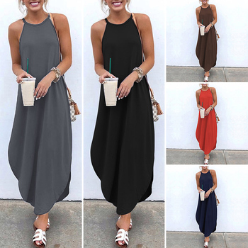 VONDA Women Dress 2019 Summer Sexy Strap Sleeveless Irregular Party Maxi Long Dresses Female Casual Loose Plus Size Vestidos 2
