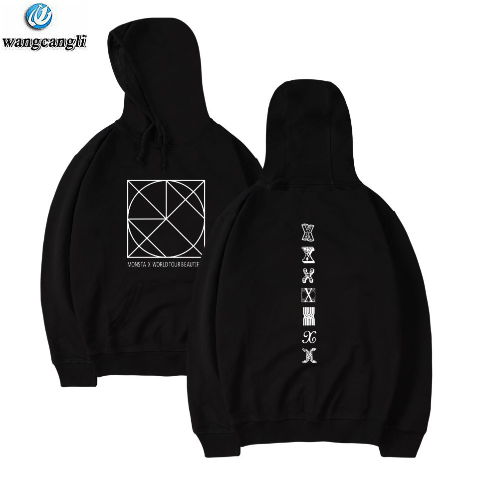 MONSTA X Kpop Harajuku oversized Hoodies Sweatshirt Women/Men hit hop tracksuit korean bts Hoodie Women Streetwear Jacket Coat