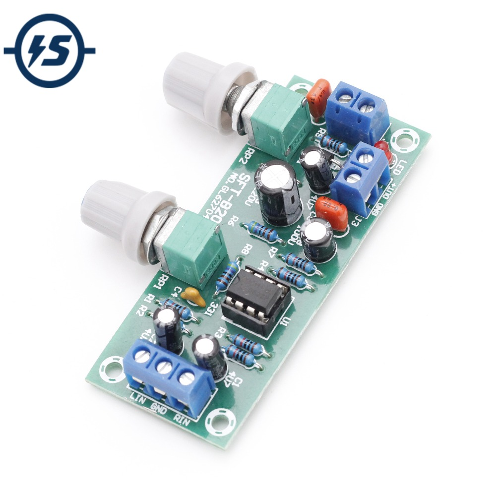 low pass filter for subwoofer circuit at 4558 - Low-Pass Filter Plate Subwoofer Preamp Board 2.1 3-Channel DC 10-24V 22Hz-300Hz