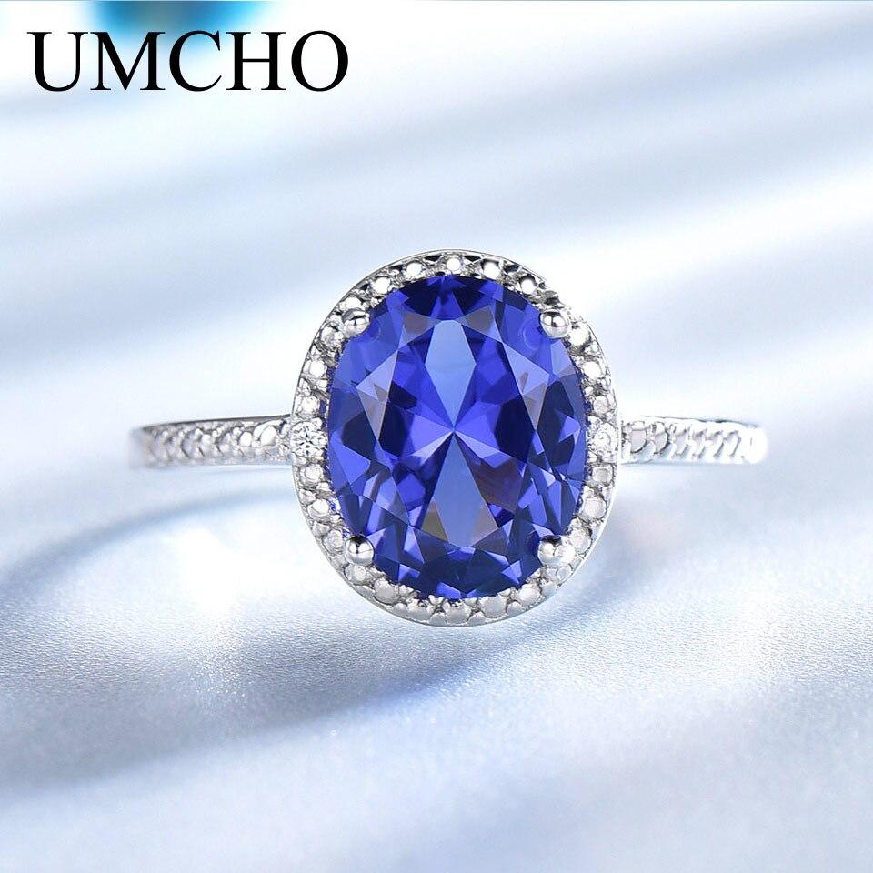 UMCHO Luxus Tanzanite Ringe Für Frauen Solide 925 Sterling Silber Schmuck Edelstein Engagement Ring Sets Hochzeit Party Geschenk 2019