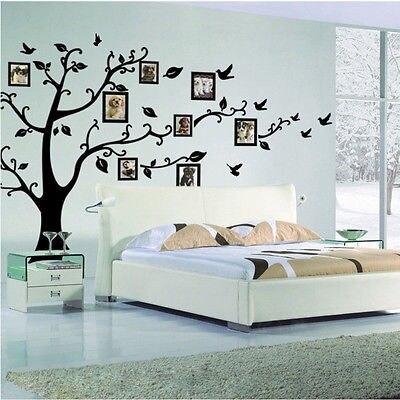 Creative השחור 3D DIY תמונת עץ PVC מדבקות קיר/מדבקות קיר משפחת דבק קיר לאמנות בית תפאורה