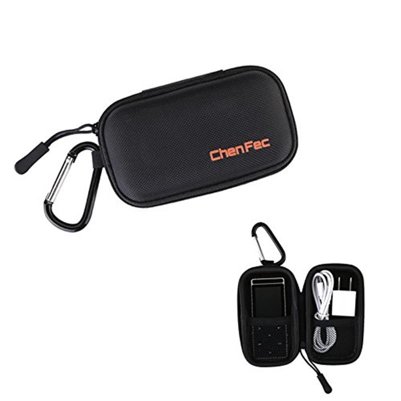 Protective Storage Case Bag For MP3 Players Earphones Headphone Holder With Metal Carabiner Clip Zippered Hard Carrying Case