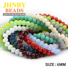 JHNBY Faceted Austrian crystal beads ball 6x4mm 50pcs Flat Round Ceramic color Loose jewelry making bracelets necklace DIY