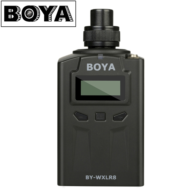 BOYA BY-WXLR8 Handheld Plug-on XLR Audio Transmitter Wireless Microphone with LCD Display for BY-WM8/6 Wireless Microfone System boya by whm8 professional 48 uhf microphone dual channels wireless handheld mic system lcd display for karaoke party liveshow
