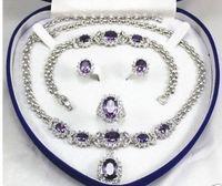 10X10 jewerly free shipping women's jewelry Purple gem 18KGP Earring Bracelet Necklace Ring