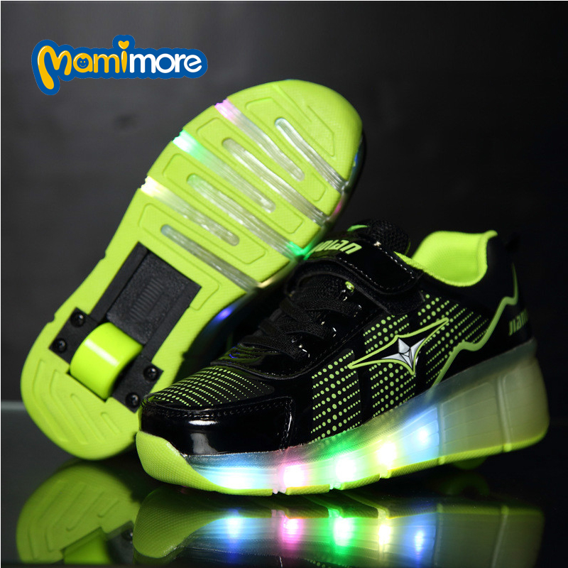 Children Single Round Shoe With LED Light 2016 New Runaway Wheels Lamp Fashion Sneakers PU Leather Kids Roller Shoes