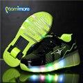 Rodas luminosas sneakers shoes crianças shoes com luz led 2017 novo fugitivo rodas roller shoes crianças shoes