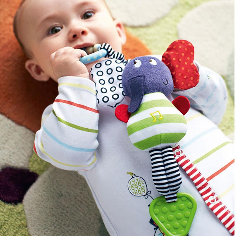 Music Elephant Baby Toys Rattle Educational Toys Teether Infant Plush Mobile Baby Toys Lather Crib Car Hanging Rattles Stroller