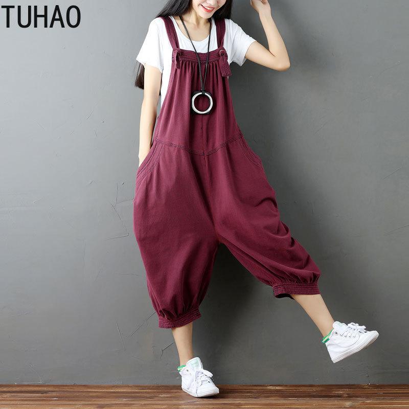 TUHAO Woman's Jumpsuits 2019 Summer Women Vintage SOLID Wide Leg Bib Denim Overalls Jean Jumpsuits Female Large Size Rompers LLJ