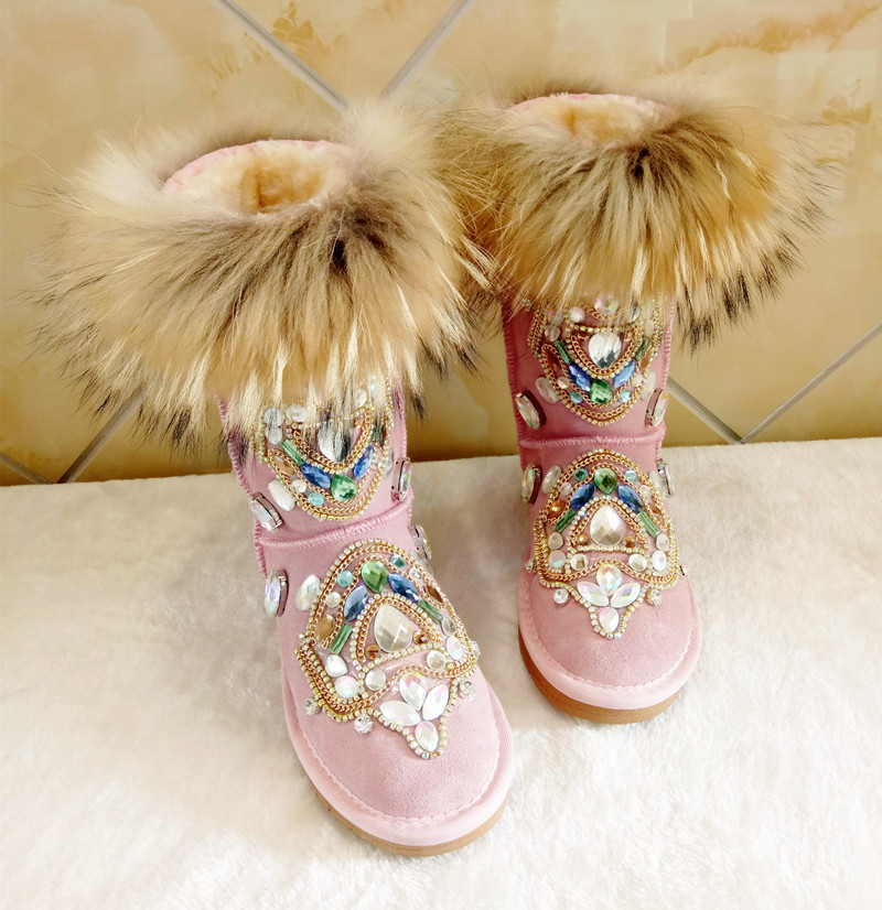 2018 winter shoes women Luxury rhinestone flats snow boots Handmade fur Keep warm embroidered mid-calf boots plus size 44 newest plus size 34 47 new autumn winter plush women boots mid calf snow boots woman keep warm mother botas butterfly flats roman shoes